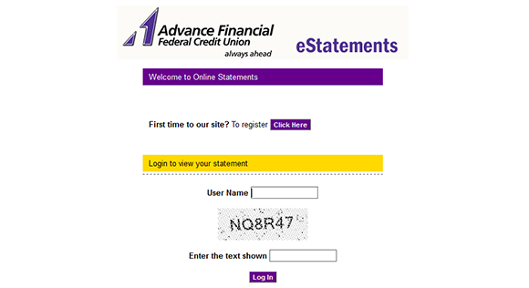 Advance Financial estatements screenshot